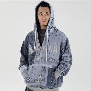 Mode-bestickte Bandana Patchwork Voller Reißverschluss Mit Kapuze Sweatshirts Jacken 2020 Harajuku Hip Hop Casual Hoodies Mäntel Tops Mens WQ017