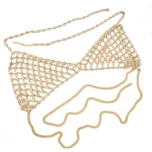 Idealway Sexy Crystal Rhinestones Body Jewelry Fashion Bikini Chain Necklace Hollow Out Underwear Bra D jllwlF dayupshop