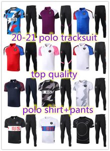 2020 2021 Paris maniche corte vestito di polo della tuta pantaloni della camicia di addestramento di calcio Survêtement 20 21 Paris Jordam calcio Mbappe adulti tuta