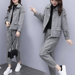 gray 2021 New winter wool two pieces of define jacket + women's fashionable pantsuit pants ladies 2-bun female sets y486 1968