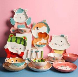 Cuenco de dibujos animados y plato de vajilla de cerámica conjunto placas de cuadrícula creativa para niños Tazones de mariscos plato doméstico