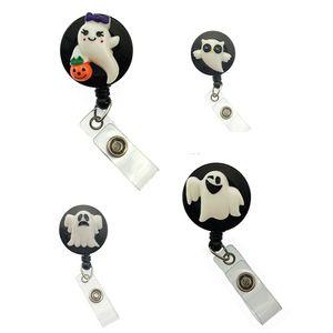 Halloween ghost with pumpkin cute design retractable id badge reel badge holder