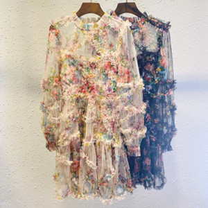 2021 new high-end imported printed fabric stitching pleated fairy princess long sleeve dress temperament