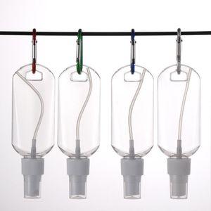 50ML Empty Alcohol Refillable Bottle With Key Ring Hook Clear Transparent Plastic Hand Sanitizer Bottle For Travel Bottle Spray Cap