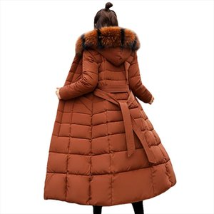 Fashion Winter Jacket Women Big Fur Belt Hooded Thick Down Parkas X Long Female Jacket Coat Slim Warm Winter Outwear