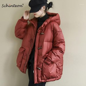 2020 Schinteon Kore Tarzı Kadın Aşağı Ceket Hood ile Kış Sıcak Boynuz Düğmesi Gevşek Dış Giyim Boyutu Coat1