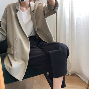 Yeeloca Striped Loose Blazers Full Sleeve Mid-length Double-breasted Notched Casual Suit Coat Autumn Women Korean Loose Top 201012