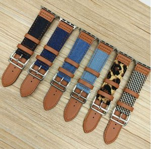 Denim Leopard Check Strap for apple watch6 5 4 3 splicing leather strap 38 40 42 44mm Canvas + leather strap