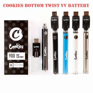 Cookies SF Slim Twist Batterie 900mAh Bottom Twist 3.3-4.8 V Vordrehen VV-Patrone California VAPE BLISTER Batterie Stift für 510 Gewindewagen