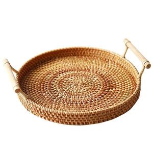Rattan Storage Tray Round Basket with Handle Hand-Woven Rattan Tray Wicker Basket Bread Fruit Food Breakfast Display L