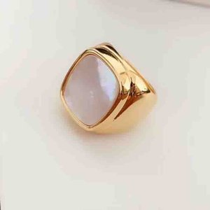 18K real Gold Plated Rings square Design with white shell and tiger eye stone for women Finger Ring Fit all For Girls and Women jewelry gif