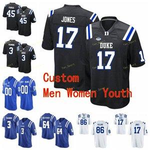 Custom Duke Blue Devils Collège Football Jerseys 3 Jamison Crowder 3 T.J. Rahaming 34 Ben Humphreys 4 myles Hudzick Hommes Femmes Enfants cousus