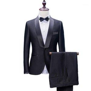 Men's Suits & Blazers Arrival Shawl Lapel 2 Pieces Black Groom Tuxedos Wedding For Men (Jacket+Pants+Bowtie) Groomsman Formal1