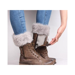 Fur Ankle Cuffs Womens Warm Faux Fur Crochet Knitted Boot Socks Cover Leg Warmer Short Socks Tube Acc jllmwC mx_home