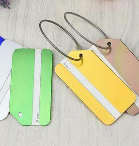 Travel Luggage Tag Aluminum Alloy Suitcase Travel Bag Labels Holder Name Card Straps Suitcase Name Tag Kka7560