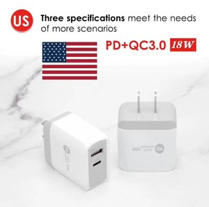 18W 2Ports USB + USB-C PD Charger Cable for iPhone12 Series for iphone11 USB Type C Power Adapter wall charger