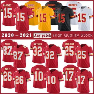 15 Patrick Mahomes Football Jersey 87 Travis Kelce 10 Tyreek Hill 32 Tirann Mathieu 25 CLYDE Edwards-Helaire 26 Le'veon Bell costurado
