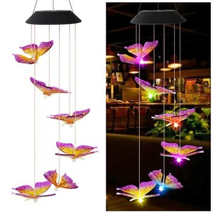 Solar Light Outdoor Solar Wind Chime Waterproof Solar Powered LED Hanging Lamp for Outdoor Garden Festival Decoration