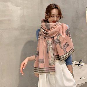 Moda-otoño e invierno nuevo estilo imitación cachemira bufanda cálida hembra de doble cara estudiante gruesa chal retro atmósfera de alta gama