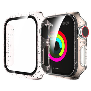 tempered Glass+Case For Apple Watch cover 44mm 40mm 42mm 38mm Jelly for iWatch Screen Protector for apple watch series 5 4 3 SE 6