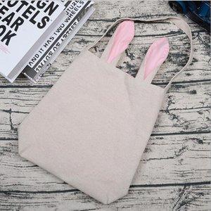 Easter Bunny Bucket Rabbit Ear Basket for Egg Hunts Easter Gift Burlap Shopping Tote Handbag Kids Candy Bag Party Decor Supplies SEA PPC5206