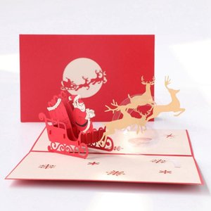 3D Up Merry Christmas Gifts Cards with Envelope for Party Invitation All Occasion Customizable