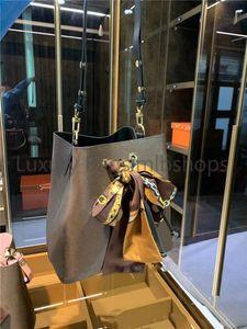 Kostenlose Seidenschals Damen Eimer Umhängetaschen Escale Neonoe Crossbody Tasche Echtes Leder Handtaschen Verstellbarer Riemen Mode Crossbody Taschen