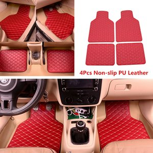4pcs Red PU Leather Universal Car Floor Mats Front Rear Liner Carpet Car Styling