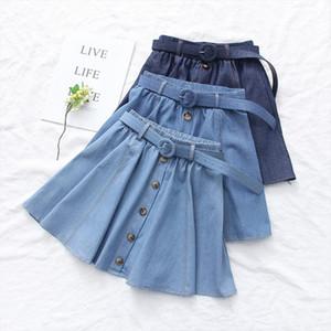Belt Deco Elastic Waist Denim Skirt Women Solid Color Big Hem Single Breasted Denim Skirt Casual Daily Short Jean Skirt Female