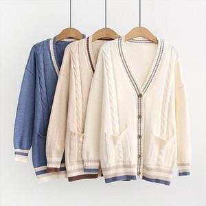 2020 새로운 인기있는 여성은 느슨한 외부 마모 코트 여성 드롭 배송 높은 품질 카디건 니트 스웨터
