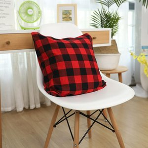 Christmas Buffalo Check Plaid Throw Pillow Covers Cushion Case for Farmhouse Decor Red and Black 18 Inch Pillow Case sea shipping AHA2256