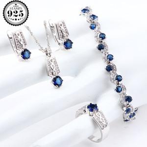 Blue Zirconia Silver 925 Bridal Sets For Women Luxury Wedding Costume Jewelry Pendants Bracelets Rings Earrings Necklace