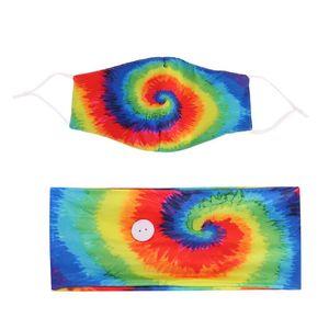 Tie-boya Saç Bandı Maskeleri Seti Spiral Desen Düğme Karşıtı Tasma Saç Türban Aksesuarları Yoga Hareketi Elastik Kafa DHC2656 Maske