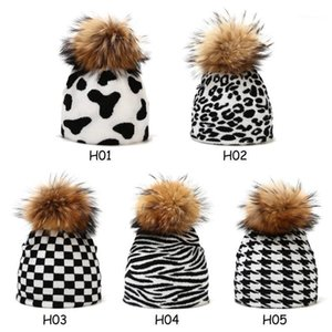 New Style Women Autumn And Winter Cow Leopard Pattern Knitted Hat Female Outdoor Warm Hat1
