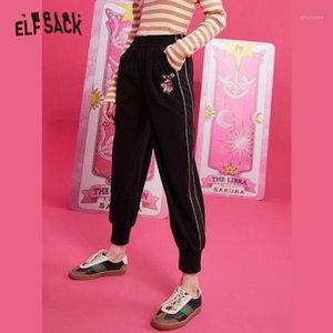 Elfsack preto sólido rato applique mulheres calças 2019 streetwear roxo letra fundo bordado escritório senhoras calças1