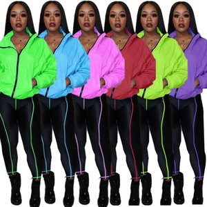 Women Tracksuits Two Pieces Set Solid Colour Line Stitching Zip Stand Collar Bat Sleeve Jacket Trousers Autumn New Fashion Casual Sportwear