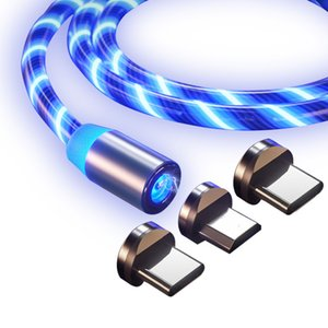 Streamer Glow 3 in 1 Magnetic Adapter USB Cable line Type C Micro Fast Charging Cord Charger Wire for Samsung Huawei Xiaomi