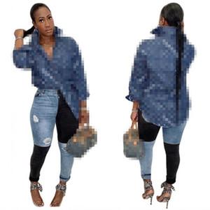 Marke Casual Gedruckt Mode Brief Druck Langarm Damen Sexy Nachtclub Womens Denim Hemden Jeans Tops Blusen Größe S-2XL