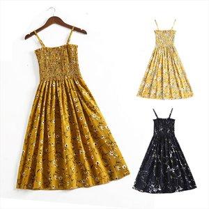 Summer Women Flower Chiffon Dress Girl Midi Sundress Beach Maxi Robe Dresses Korean Style Print Elegant Sleeveless Dress designer clothes