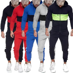 Suits Designer Male Zipper Joggers Sports Mens Tracksuits Man Colorblocked Causal Sets Fashion Trend Long Sleeve Hooded Sweater Pants