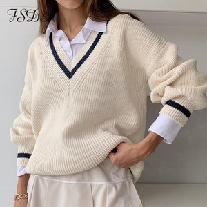 FSDA V Neck Loose Women Sweater Autumn Winter White Long Seelve Jumper Patchwork Oversized Pullover Knitted Casual Sweaters