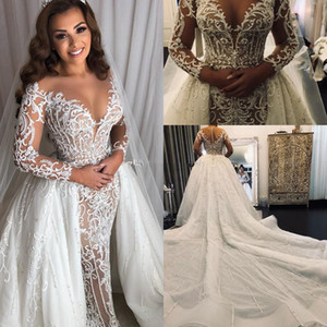 Long Sleeve Middle East Mermaid Wedding Dresses with Overskirt Detachable Train Lace Sparkly Beaded Arabic Princess Wedding Gown