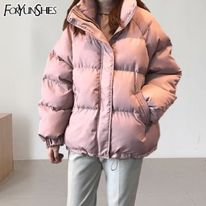 FORYUNSHES Women Winter Parkas Coat Femme Loose Casual Warm Thick Jacket Pink Windproof Bread Tops Outercoat Korean Style 201014