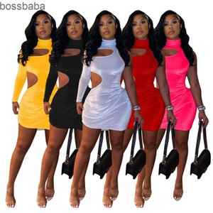 Collier High Collier Femme Sexy Fashion Casual Une épaule Robe Designer Casual Sexy Slim Mesdames Jupe Nouvelle mode 823