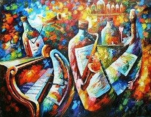 Leonid Afremov « Bottle Jazz » Home Décor peint à la main HD Imprimer Peinture à l'huile sur toile Wall Art Toile Photos 201005