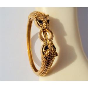 Leopard عيون سوداء 22K 23K 24K التايلاندية باهت الأصفر الصلبة الذهب gp مجوهرات الإسورة سوار الثقيلة 43 جرام BA18 201226