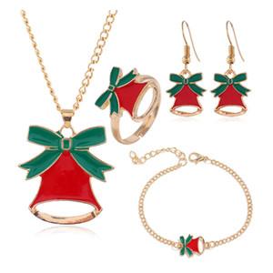 4Pcs Set Women Jewelry Set Santa Elk Bell Earrings Necklace Bracelet Decor Xmas Gift for Girl Women Wife Mother Girl Friend