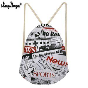 Noisydesigns Newspaper Print Custom Drawstring bag Men's shoes bag Ladies travel high quality Men's sportsbackpack