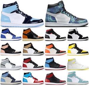 Avec chaussettes gratuites MOCHA NC 1 Banni Homage à domicile Backboard Soufflé Green High 1s Hommes Chaussures de basketball Sports Sneakers Taille 36-46
