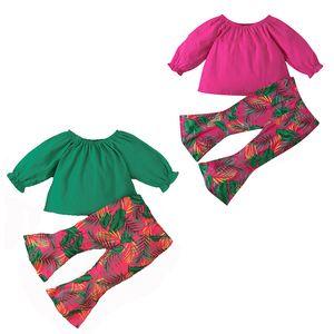 kids clothes girls Floral outfits infant off shoulder Tops+leaf print Flared pants 2pcs sets spring Autumn baby Clothing Sets Z1771